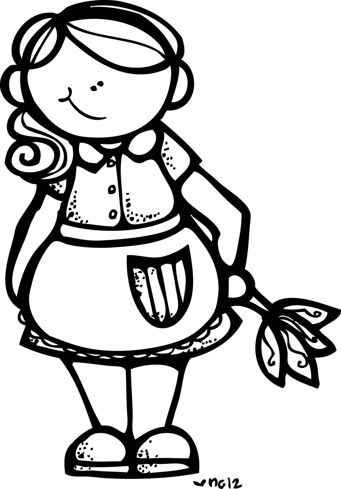 Slant eye maid clipart.