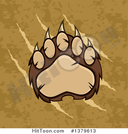 Grizzly Bear Clipart #1379613: Grizzly Bear Paw over Slash.