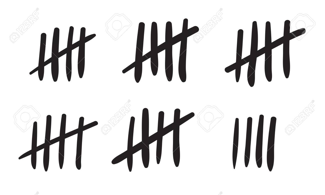 Tally marks count or prison wall sticks lines counter.