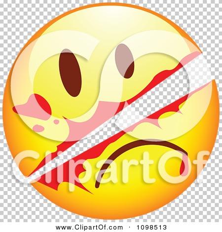 Clipart Slashed Yellow Cartoon Smiley Emoticon Face.