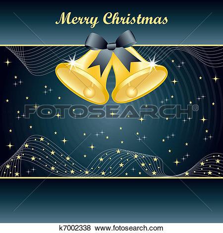 Clip Art of Gold christmas bells on Slate Blue k7002338.