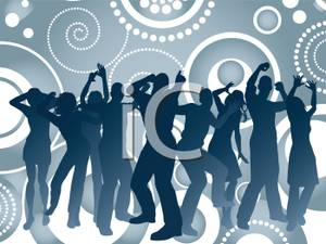 A_Large_Group_Dancers_with_a_Psychedelic_Slate_Blue_Background_Royalty_Free_Clipart_Picture_100219.