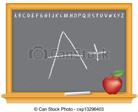 Vector Clipart of Blackboard, A Plus, Apple.