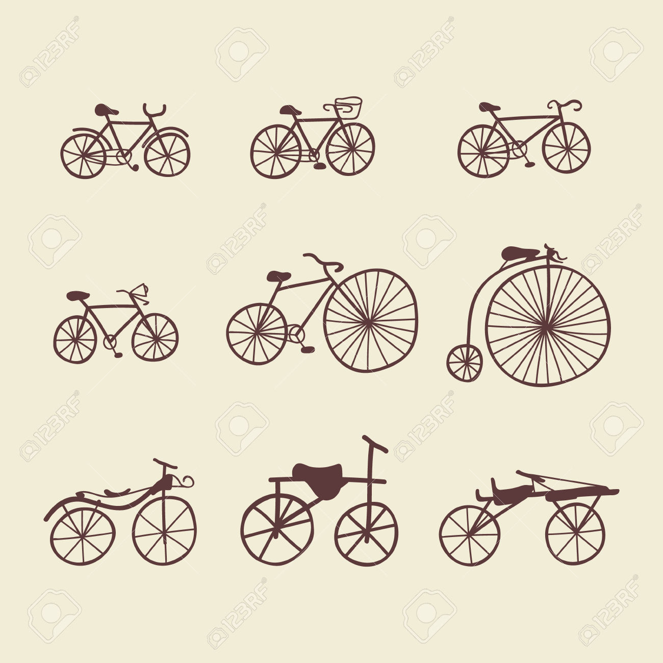 Set Of Doodle Bicycles. Vector Illustration. Ioslated Objects.