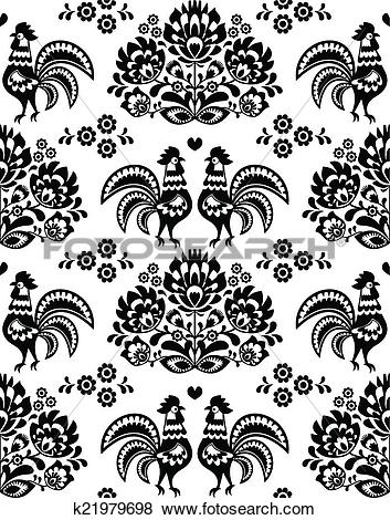 Clip Art of Seamless Polish, Slavic black folk k21979698.