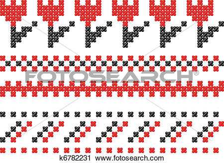 Clipart of Slavic embroidery. k6782231.