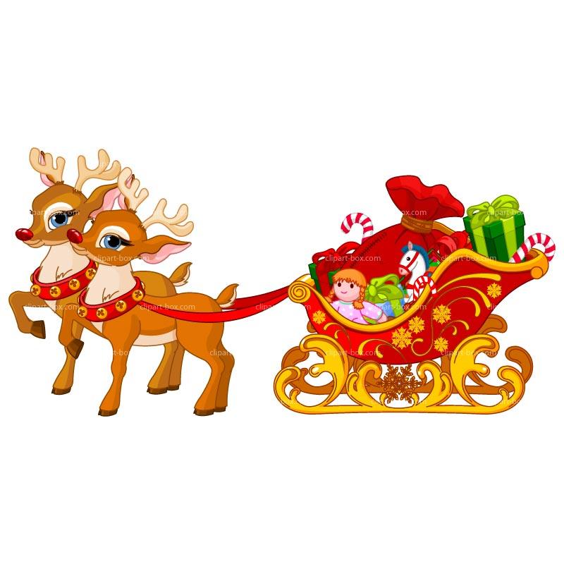Christmas reindeer slay clipart.