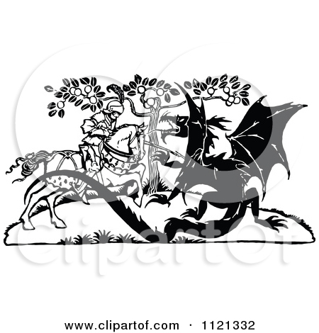 Clipart of a Retro Vintage Black and White Dragon Slayer.