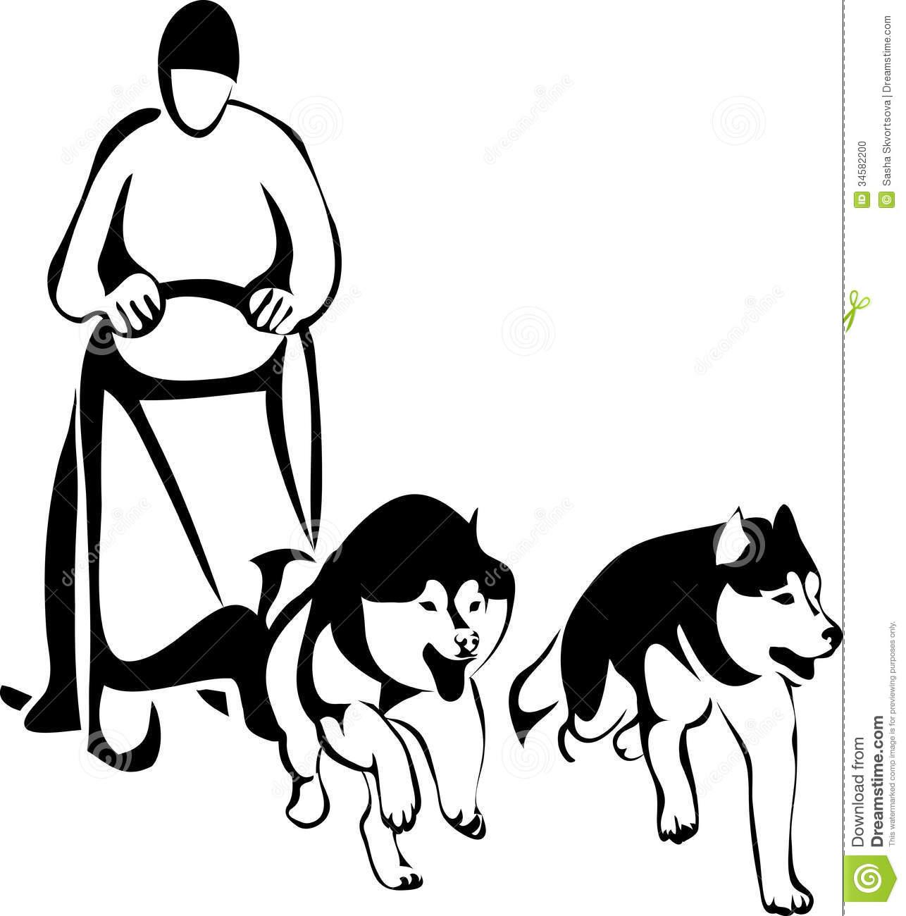 Free sled dog clipart cartoon.