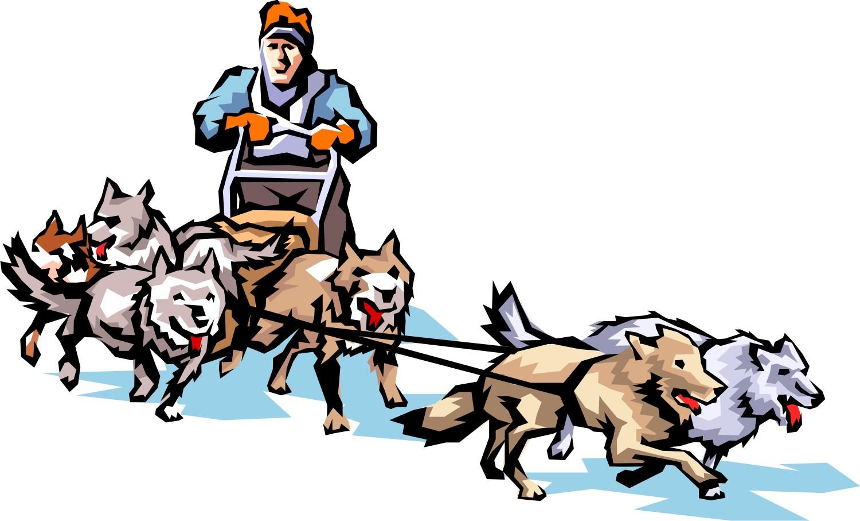 Dog sled race clipart.