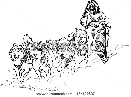 Sled dog race clipart clipground for Iditarod coloring pages