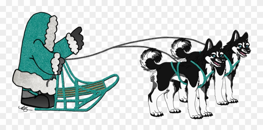Sled Dogs Team Clipart.