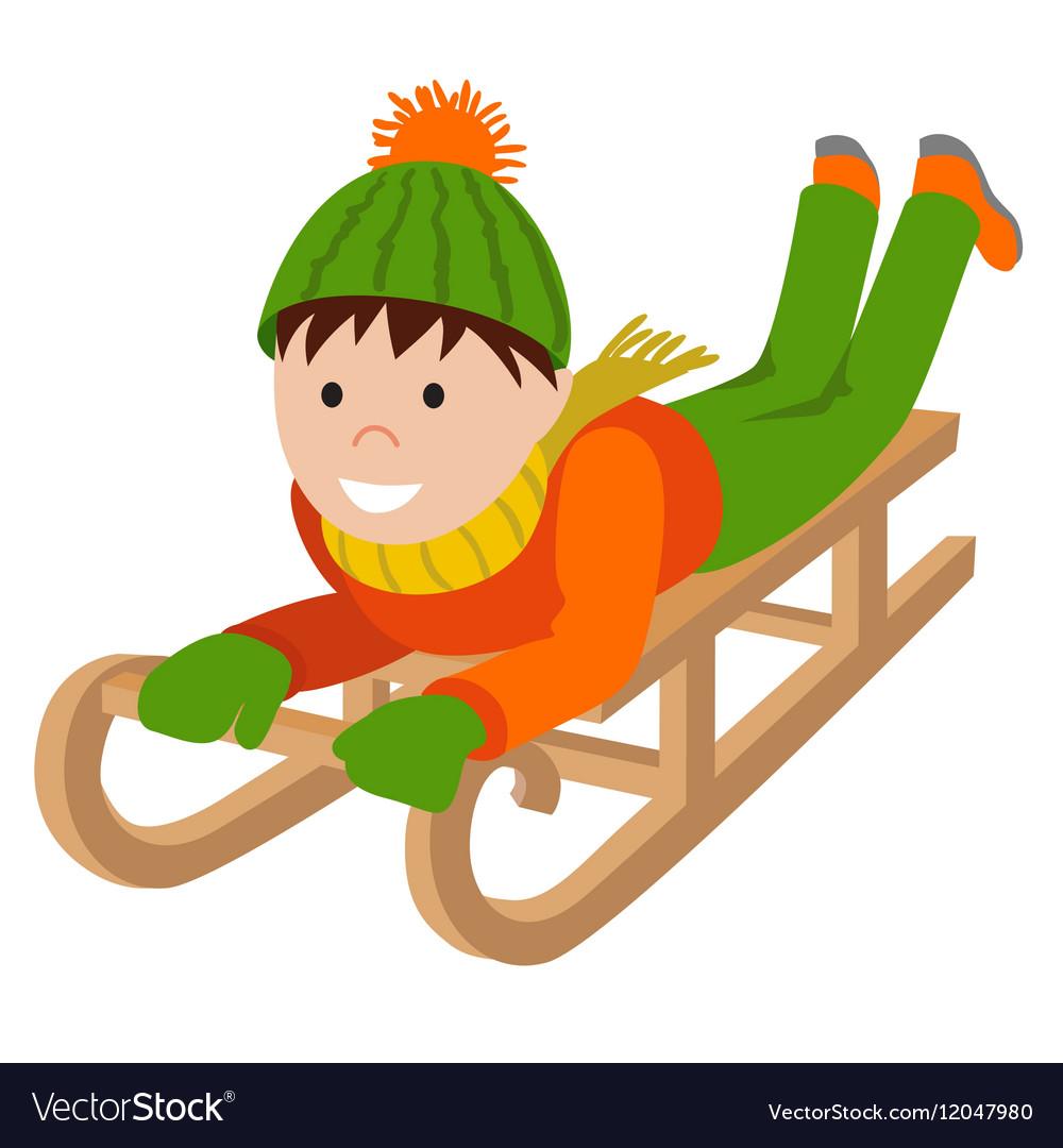 Cute child on snow sledding.