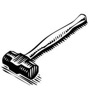 Tool Clipart Image of a Sledge Hammer with a Short Handle.