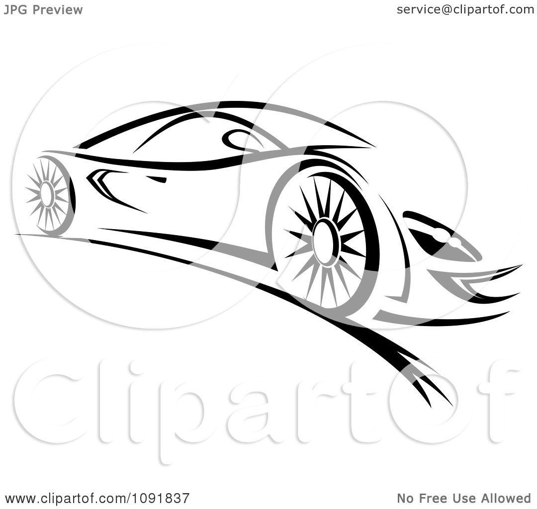 Clipart Black And White Sleek Sports Car.