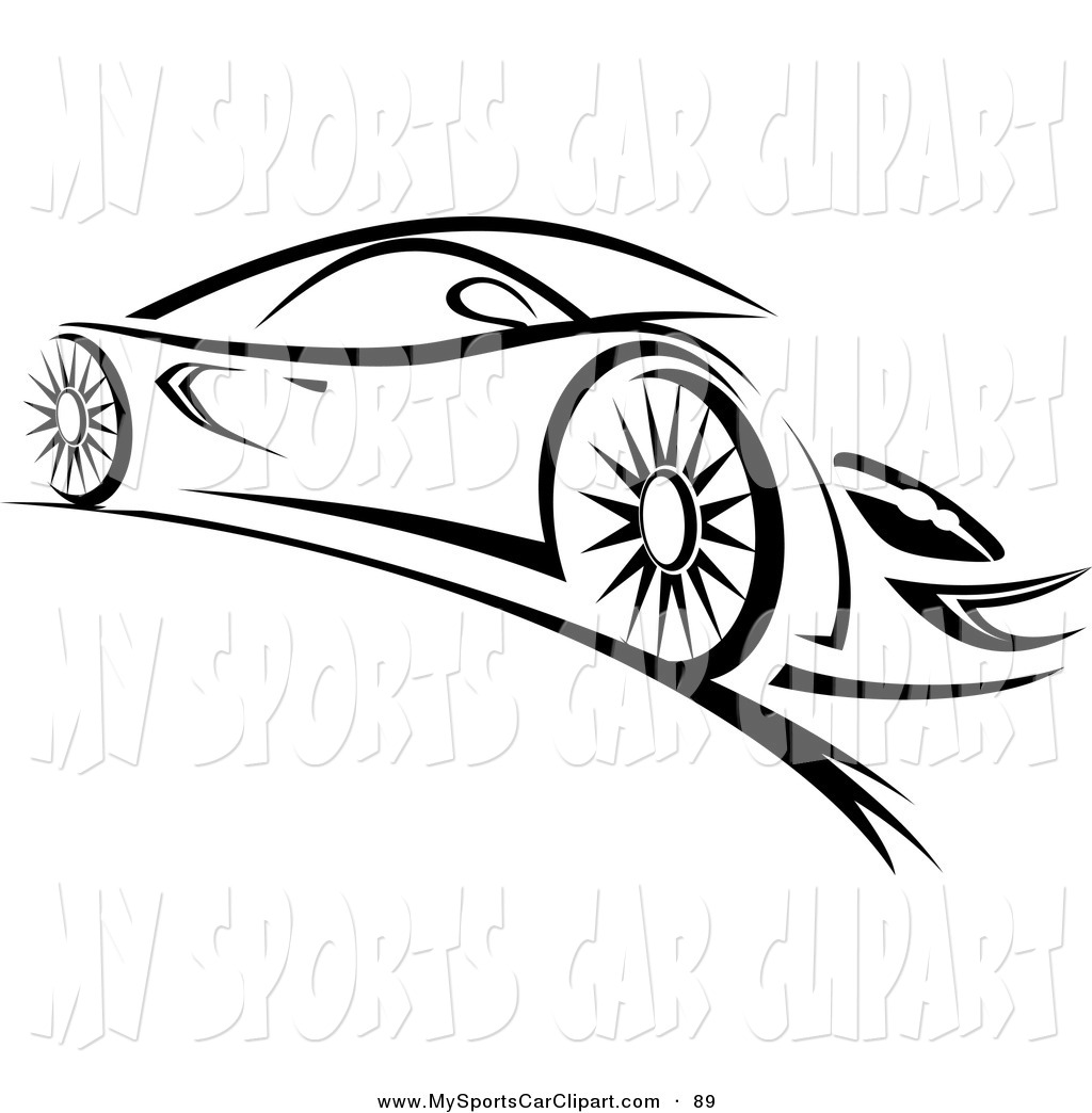 Clip Art of a Sleek Black and White Sports Car by Vector Tradition.
