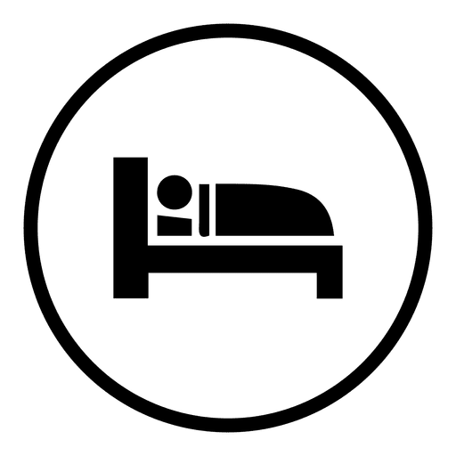 Bed sleep round icon.