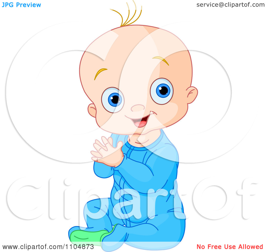 Clipart Happy Baby Boy Clapping His Hands And Sitting In Blue.
