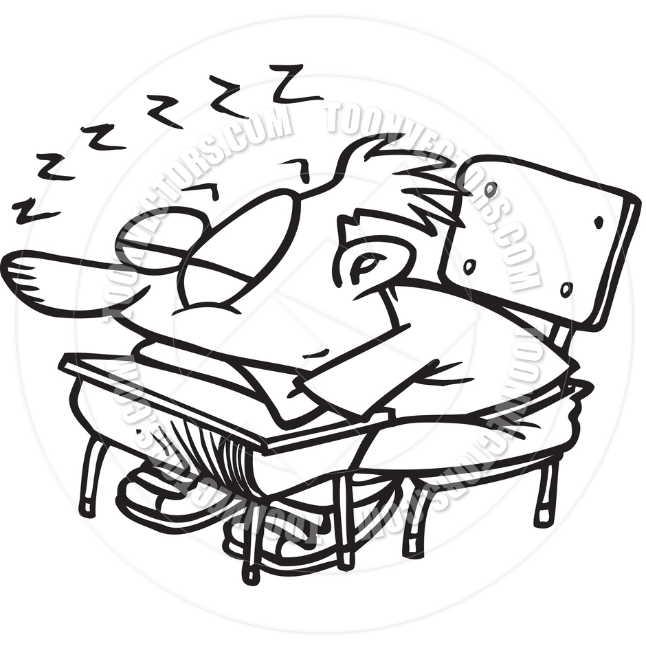 Cartoon Classroom Sleeper (Black and White Line Art) by Ron.