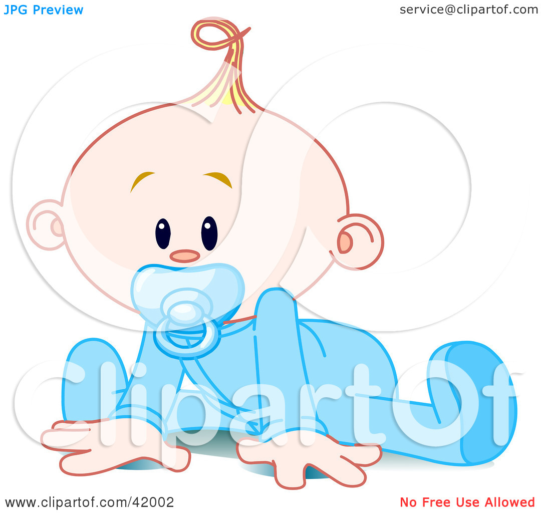 Clipart Illustration of a Baby Boy In A Sleeper, Sucking In A.