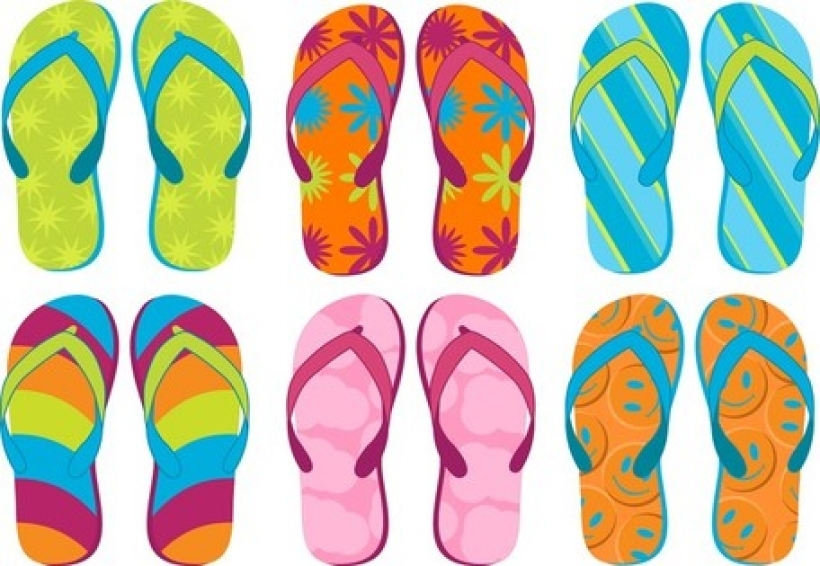 summer sandals 02 vector files clipart with summer slippers.