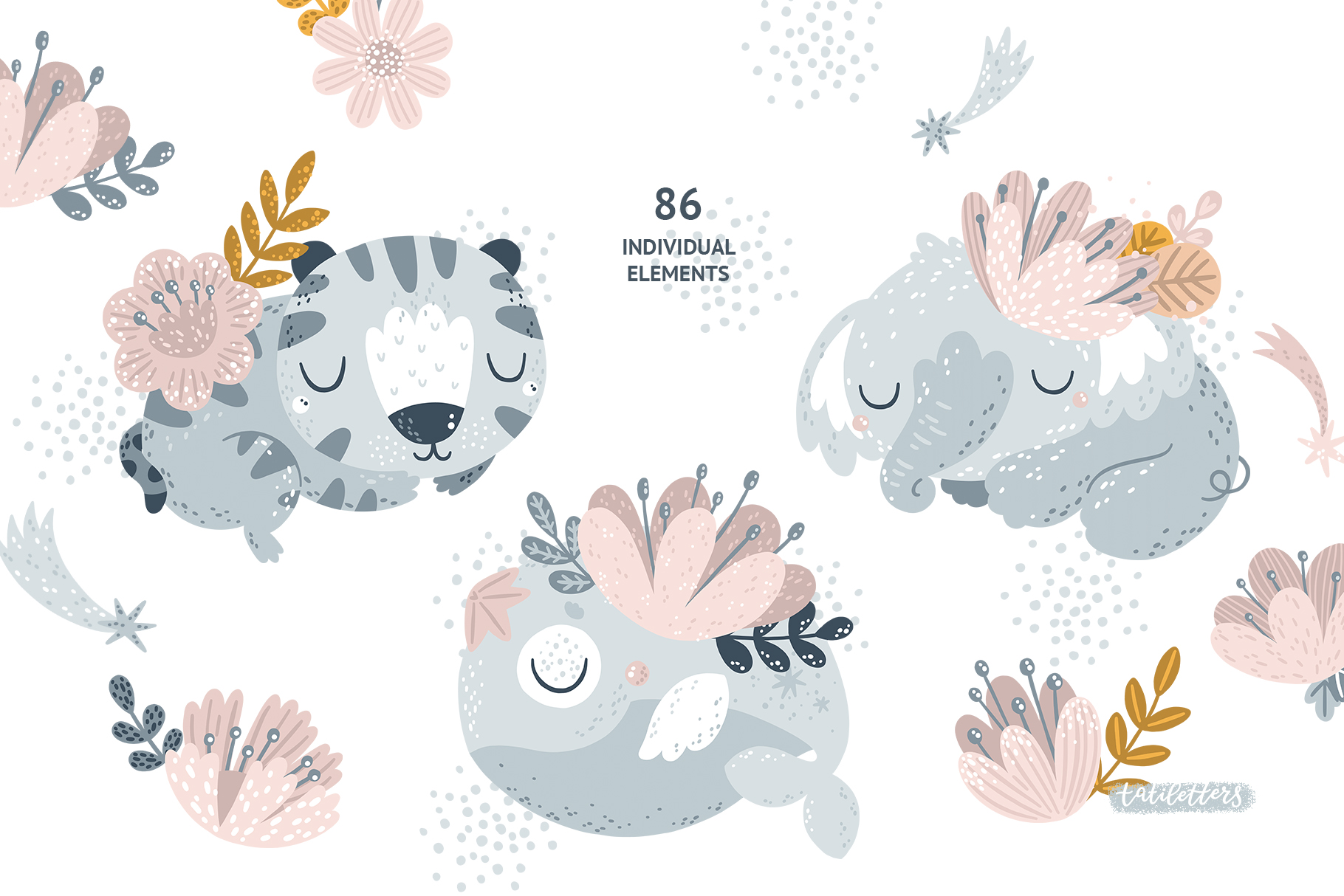 Sleeping Baby Animals Clipart and Patterns.