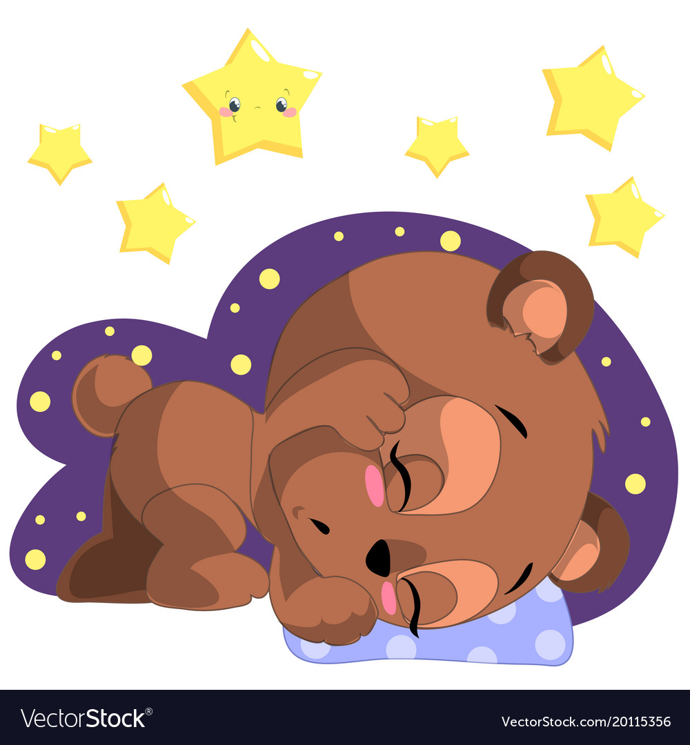 Sleeping cartoon bear clipart with moon and.