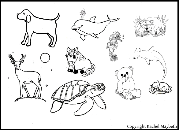 Group of animals clipart black and white