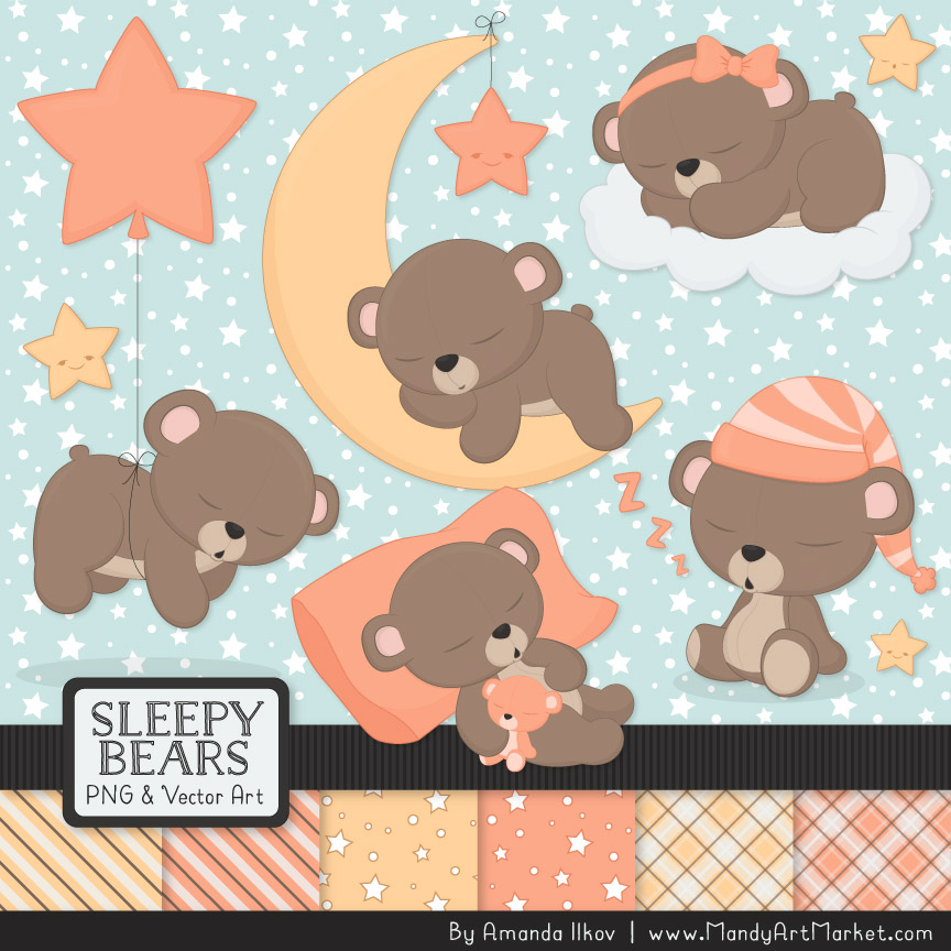 Peach Sleepy Bears Clipart & Paper Vectors.