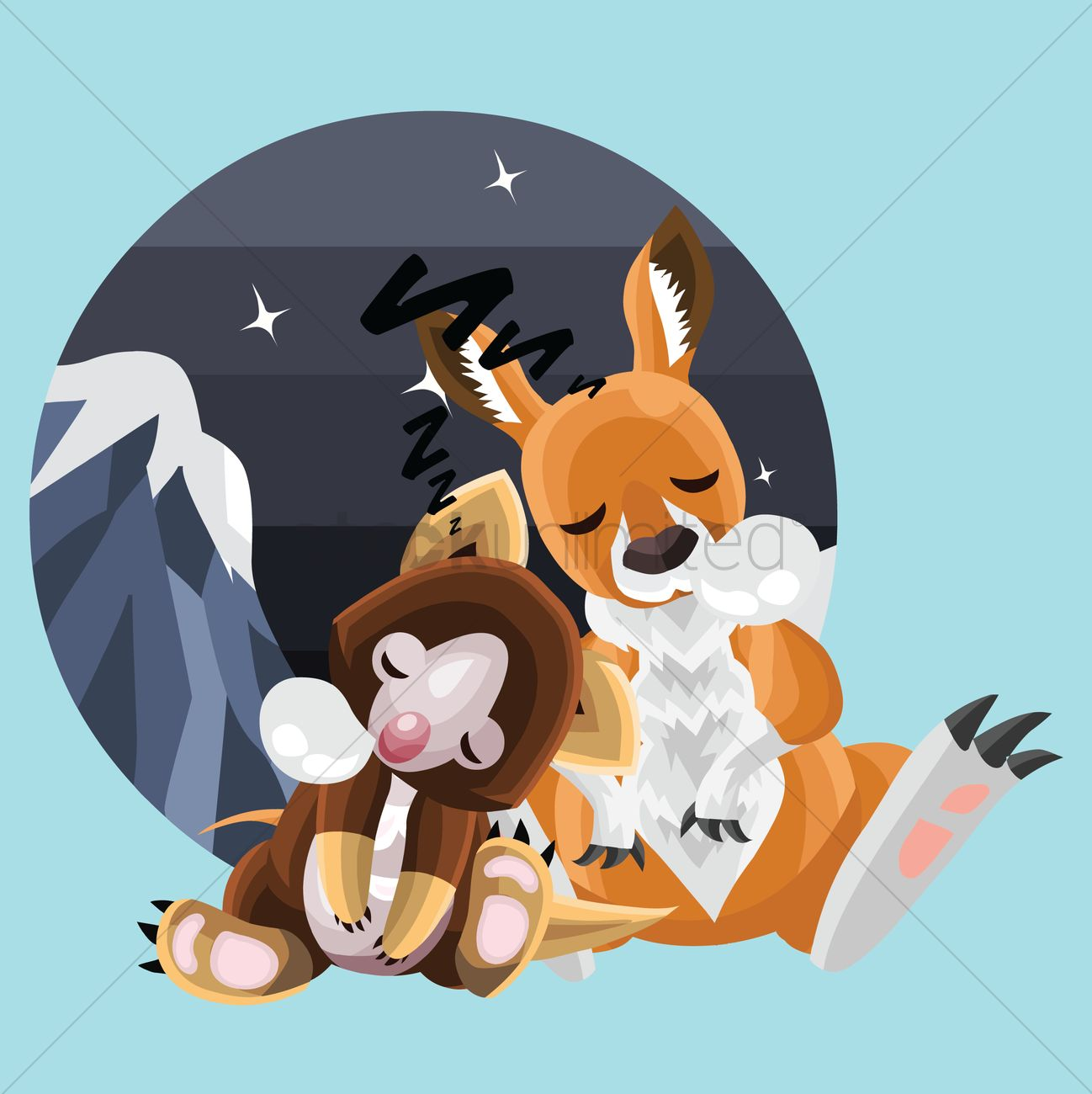 Animals sleeping together Vector Image.