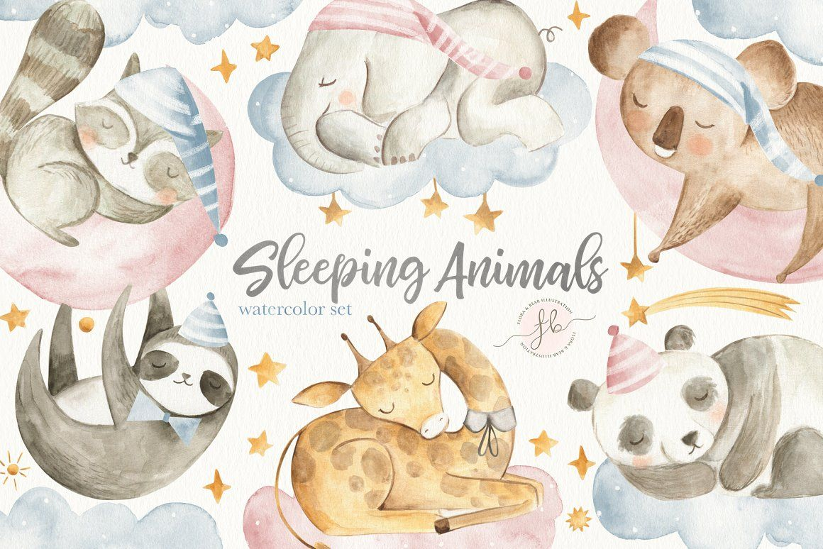 Sleeping Animals watercolor animals watercolor animals baby.