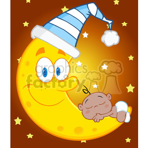 Royalty Free RF Clipart Illustration Cute African American Baby Boy Sleeps  On The Moon With Sleeping Hat Over Blue Sky With Stars clipart..