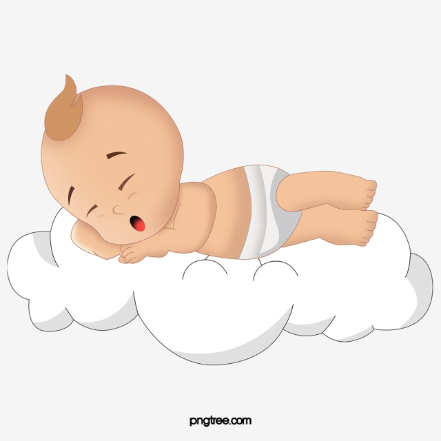 Baby Sleeping On The Clouds, Baby Clipart, Baby, Cartoon PNG.