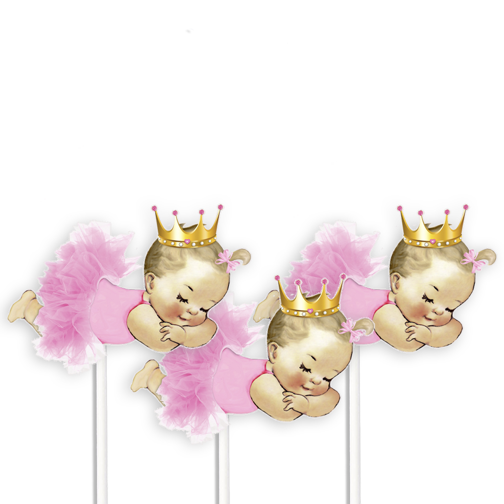 Sleeping Princess Baby Girl Centerpieces Pink Tutu Gold Crown.