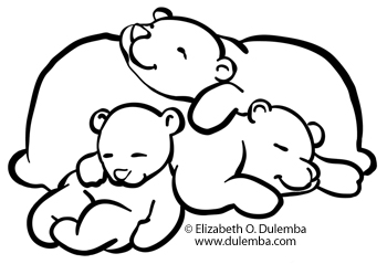Sleeping Bear Clipart Black And White.