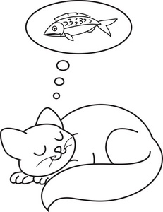 sleeping cats coloring page sleeping cat clipart black and white clipground 5435