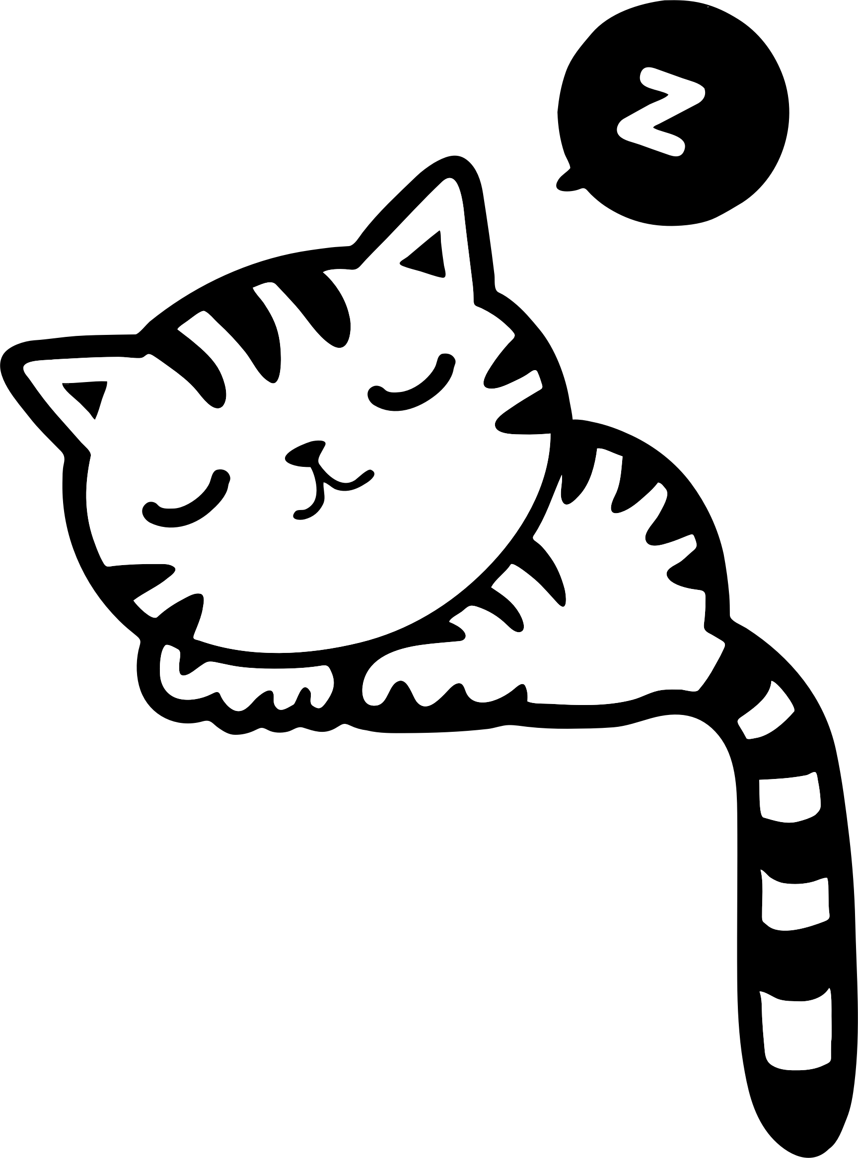 sleeping cat clipart black and white 20 free Cliparts ...