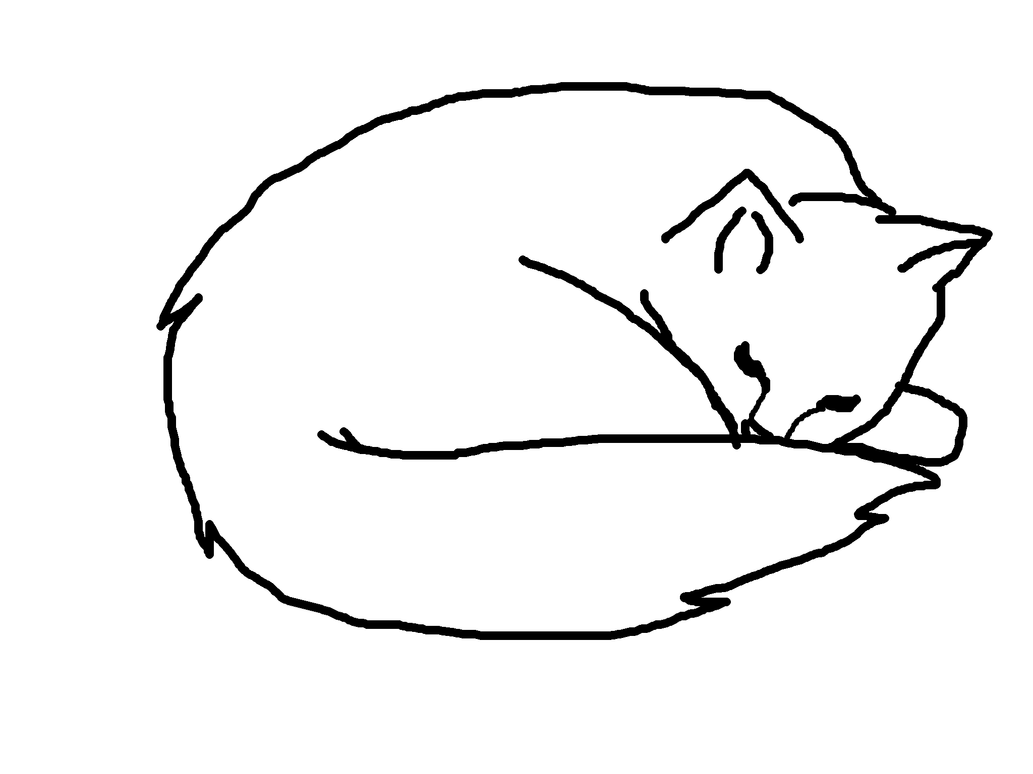 Black and White Cat Sleeping Clip Art.
