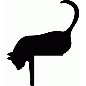 Sleeping Cat Silhouette Clipart.