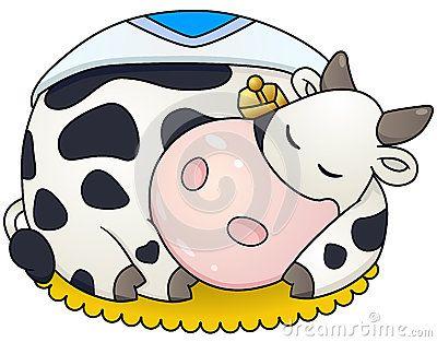 Cartoon chubby cow sleep. Vector clipart illustration with.