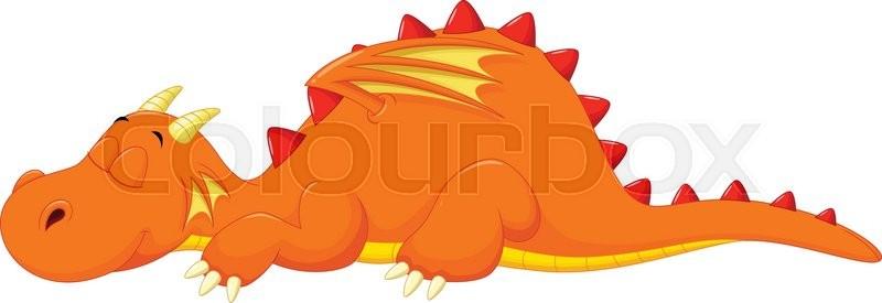 Illustration of cute dragon cartoon sleeping.