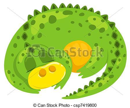 Vector Clipart of Small cartoon dragon sleep. Vector illustration.
