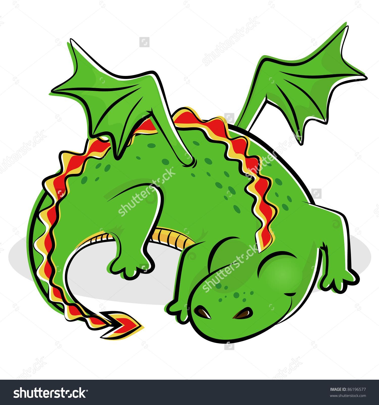 Illustration Nice Sleeping Dragon Stock Vector 86196577.