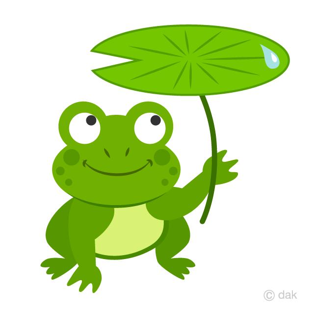 Free Frog with Leaf Umbrella Clipart Image|Illustoon.