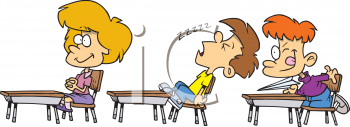 Clip Art of a Cartoon of a Kid Sleeping in Class.