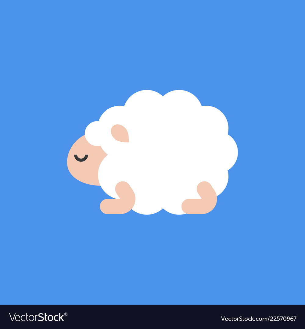 Cute cartoon sleeping sheep flat design.