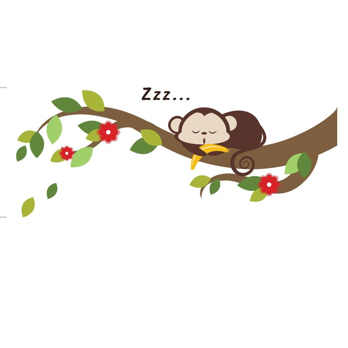 Sleeping Monkey and Tree Branch 42 PIece Wall Decal Set.