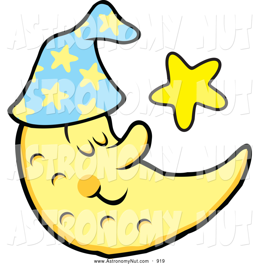 Clipart of a Calm Content Sleeping Crescent Moon and Star by.