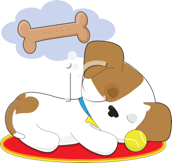 Royalty Free Clipart Image of a Puppy Dreaming of a Bone.