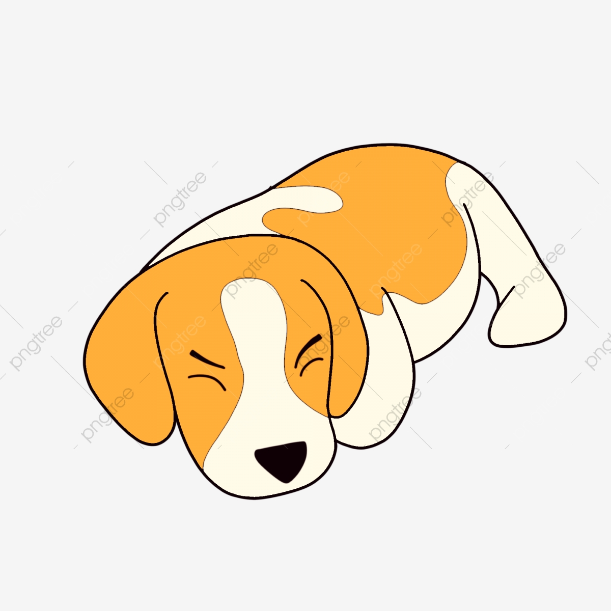 Sleeping Cartoon Puppy Design, Hand Painted, Cartoon, Color.